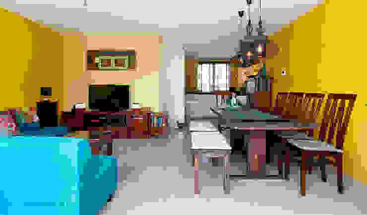 Geel turquoise woonkamer van Aileen Martinia interior design - Amsterdam Aziatisch