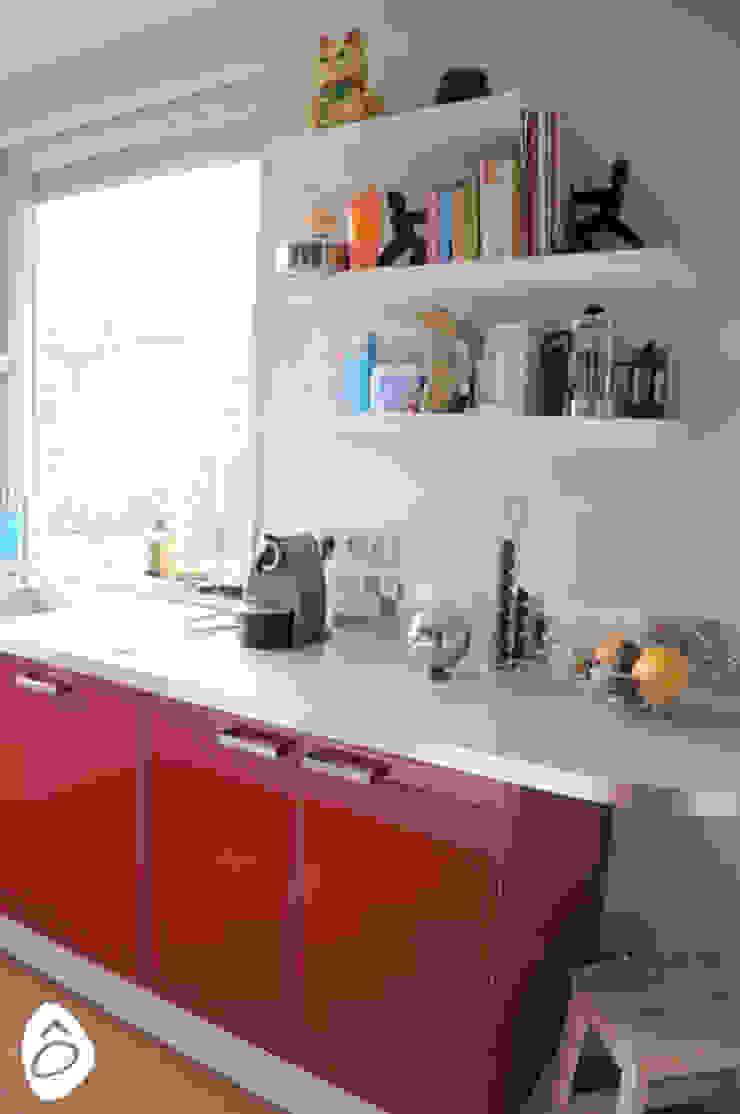 Une cuisine en rouge et blanc de idée ô logis  homify