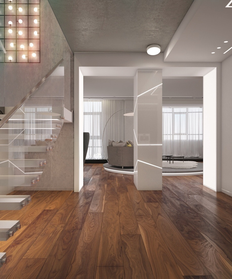 Apartment in Ekaterinburg Коридор, прихожая и лестница в стиле минимализм от E_interior Минимализм