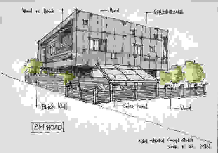 해운대 쌍둥이네 단독주택: 디자인랩 수 건축사사무소의 미니멀리스트 ,미니멀