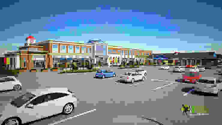 3D Exterior Rendering Shopping Mall Design: modern  by Yantram Architectural Design Studio, Modern