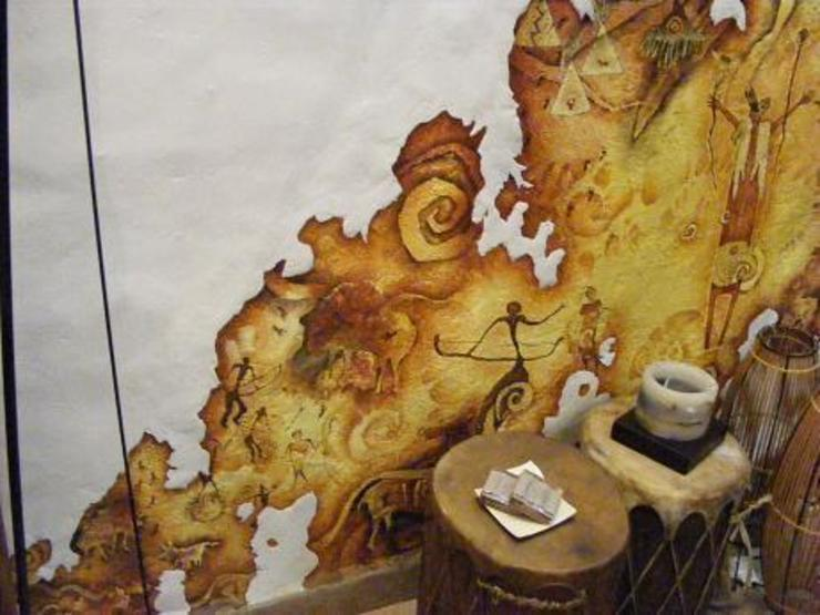 Pintura rupestre Casas mediterráneas de Cenquizqui Mediterráneo
