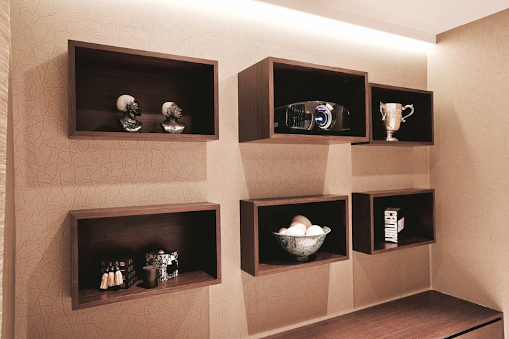 Wall mounted cabinet hosting HD projector and accessories Modern Media Room by Finite Solutions Modern
