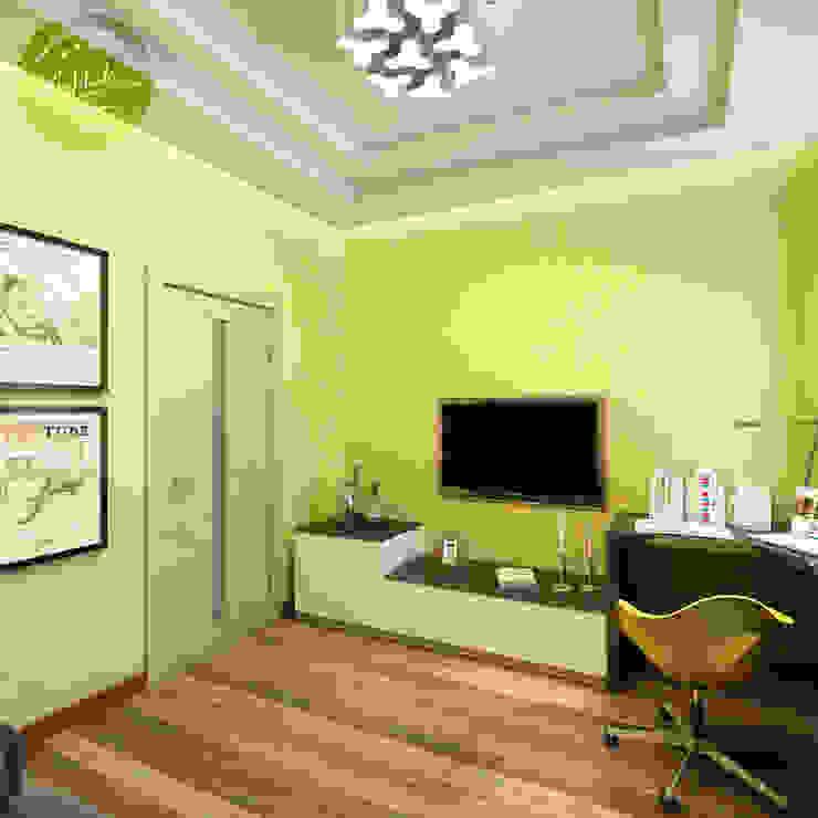 Яркая спальня-кабинет с настроением Спальня в эклектичном стиле от Anfilada Interior Design Эклектичный