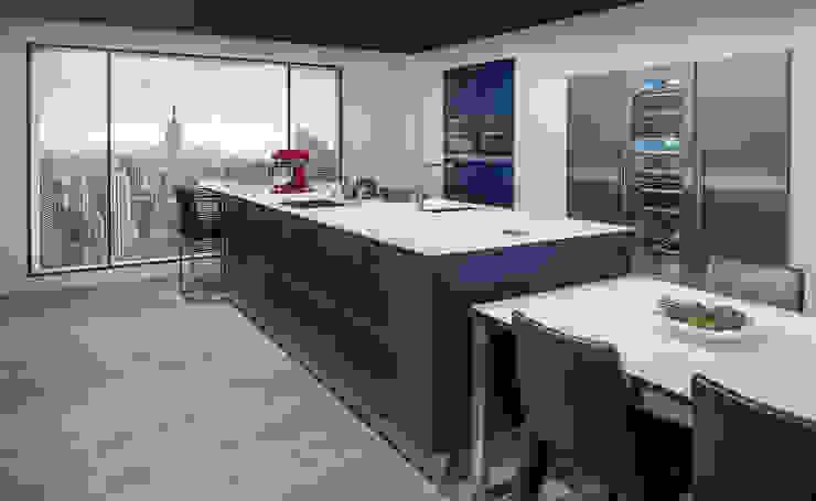 NX902 Mat glas indigoblauw Minimalistische keukens van Eiland de Wild Keukens Minimalistisch