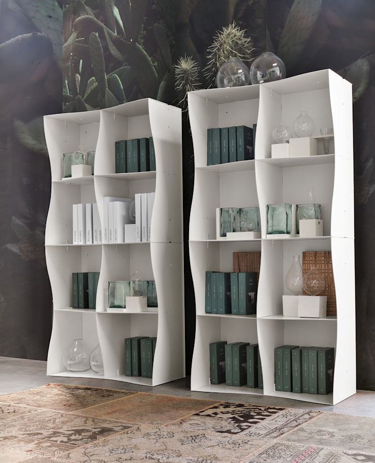 Iron-ic modular bookcase, varnished White finishing Ronda Design Living roomTV stands & cabinets