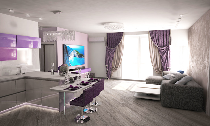Гурьянова Наталья 现代客厅設計點子、靈感 & 圖片