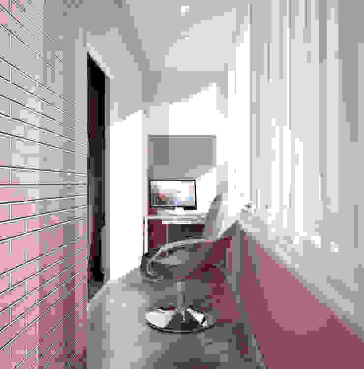 "Дизайн балкона в ЖК ""Екатеринодар"" (Краснодар) Балкон и терраса в стиле модерн от Студия интерьерного дизайна happy.design Модерн"