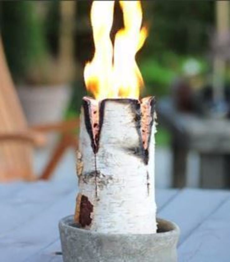 Nordic Candle Logs Greige สวนไฟกลางแจ้ง