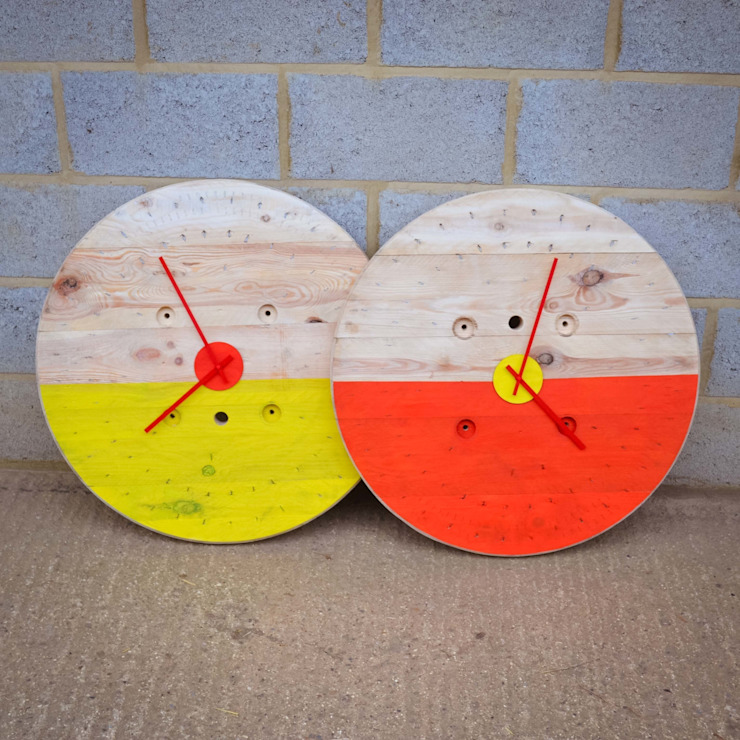Upcycled cable reel clocks: industrial  by Frances Bradley, Industrial