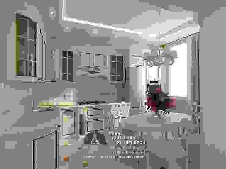 Дизайн интерьера кухни в белом цвете Столовая комната в стиле модерн от Бюро домашних интерьеров Модерн