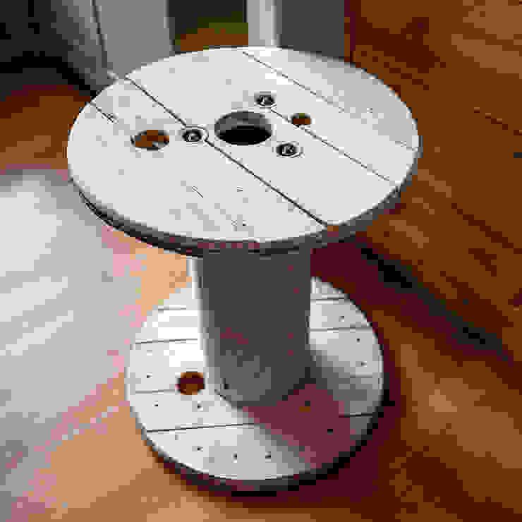 Touret table basse en bois blanc patiné Artodeco SalonCanapés & tables basses