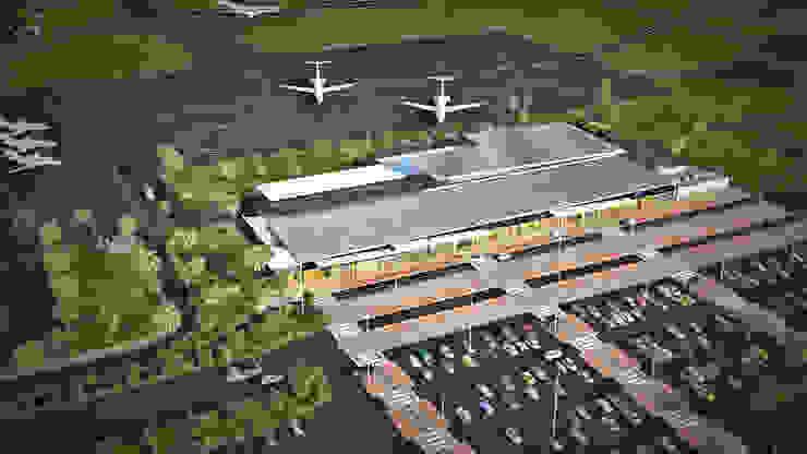 Airport Architectural Exterior Rendering: modern  by Yantram Architectural Design Studio, Modern