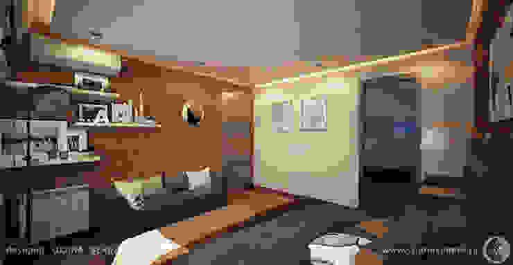 Яркий лофт для молодой семьи Спальня в стиле лофт от Дизайнер/Декоратор интерьера Лофт