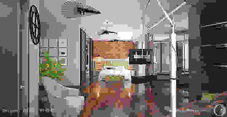 Просторные лофт апартаменты Спальня в стиле лофт от Дизайнер/Декоратор интерьера Лофт