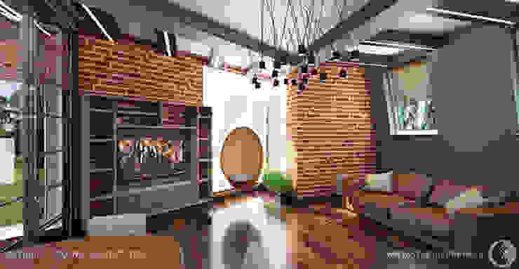 Просторные лофт апартаменты Гостиная в стиле лофт от Дизайнер/Декоратор интерьера Лофт