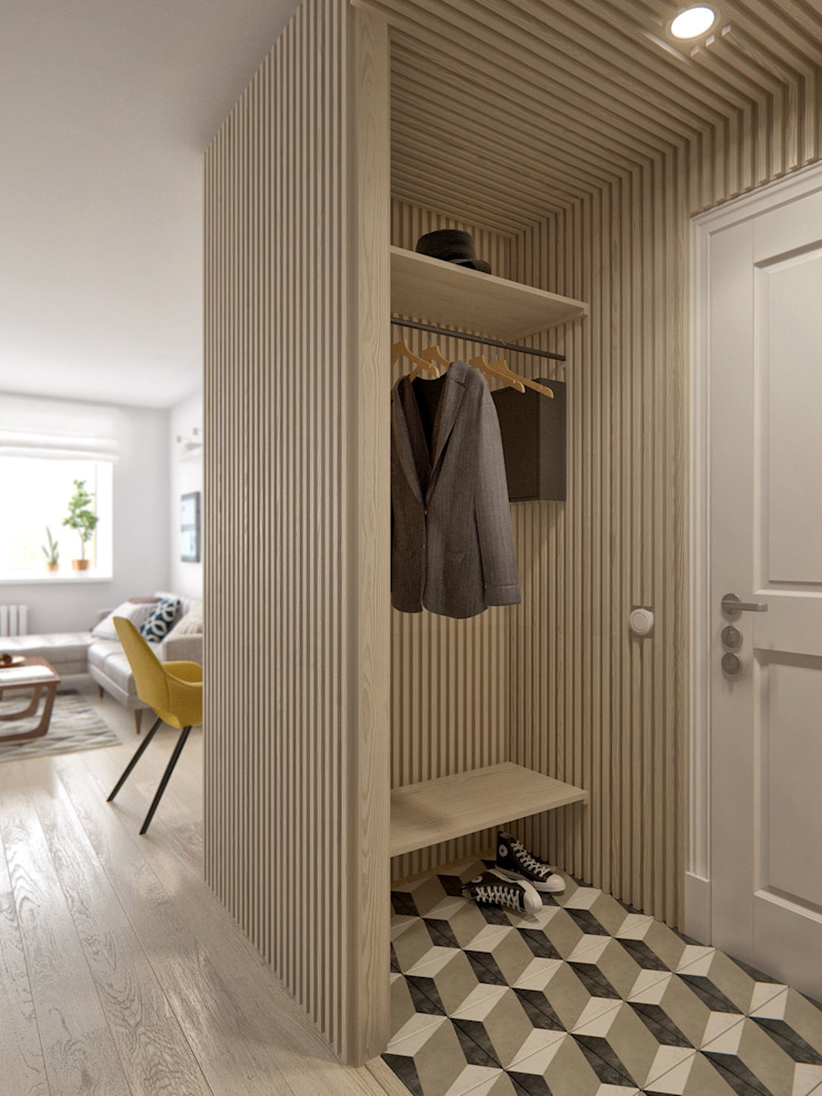 Scandinavian style corridor, hallway& stairs by INT2architecture Scandinavian