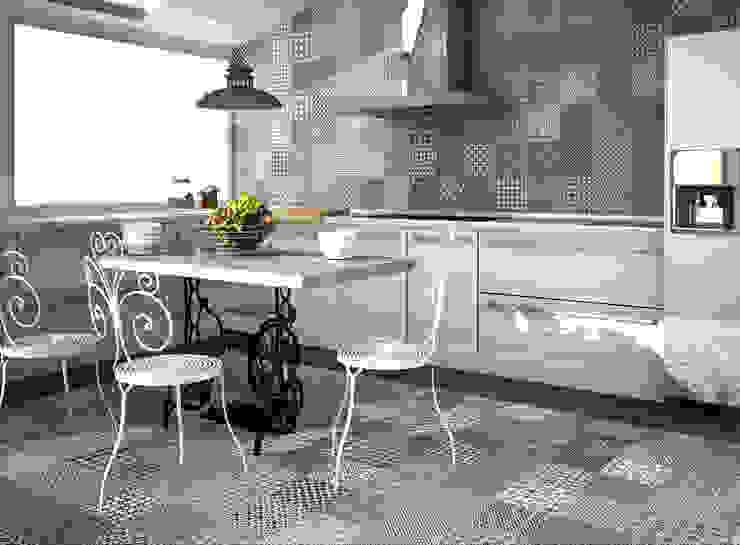 PATCHWORK TONOS GRISES Cocinas de estilo moderno de Gama Ceramica y Baño Moderno