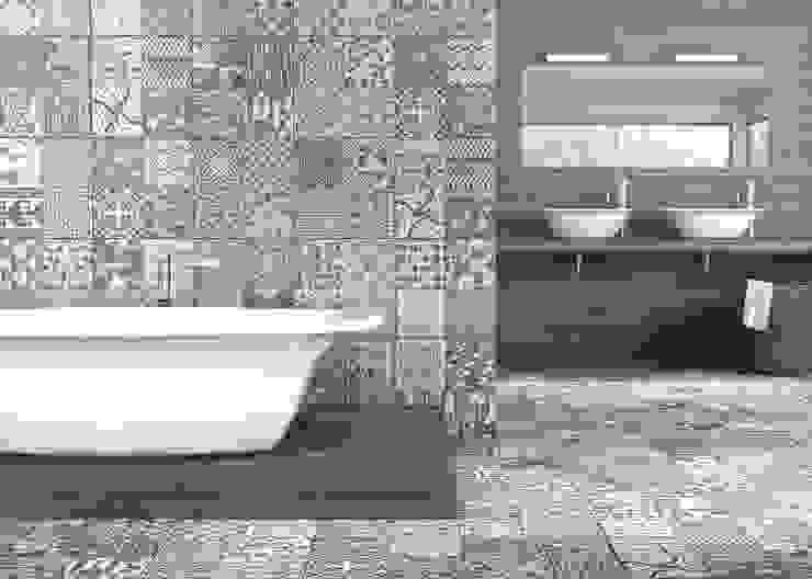TAPIZ GRIS EN PARED Y SUELO CON MADERA PORCELANICA Baños de estilo moderno de Gama Ceramica y Baño Moderno