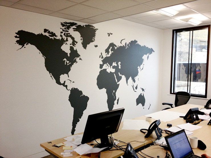Extra large world map vinyl wall sticker de Vinyl Impression Moderno