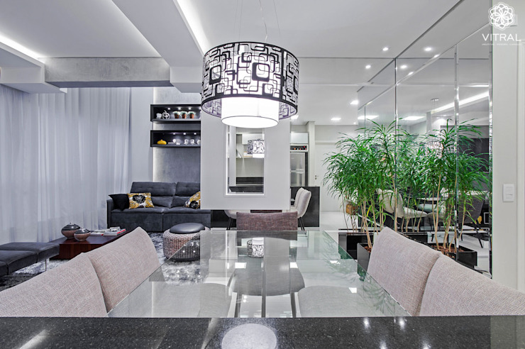 Apartamento C.A.A. Salas de jantar modernas por VITRAL arquitetura . interiores . iluminação Moderno
