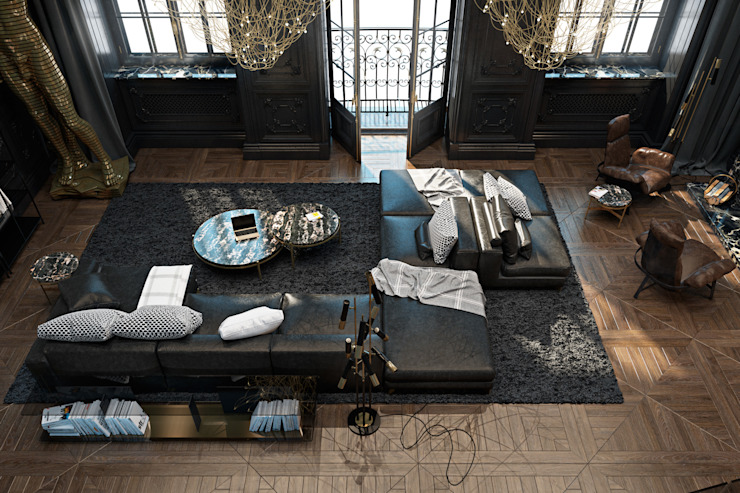 Paris apartment Eclectic style living room by Diff.Studio Eclectic