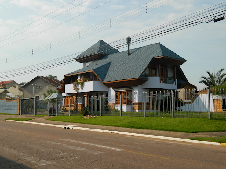 Fachada Casas rústicas por Kauer Arquitetura e Design Rústico