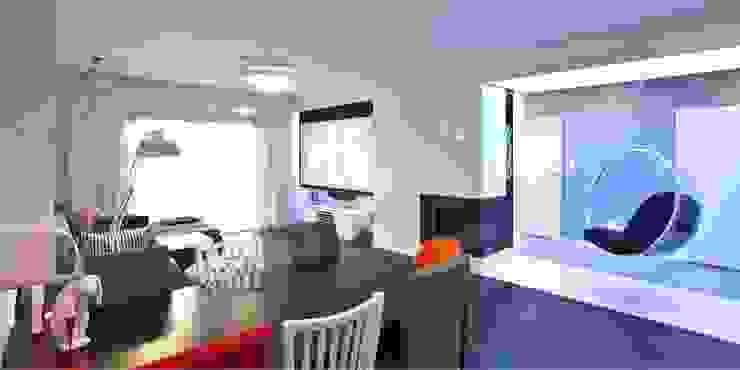 Wnętrza domu jednorodzinnego, Jaworzno Nowoczesny salon od modero architekci Nowoczesny