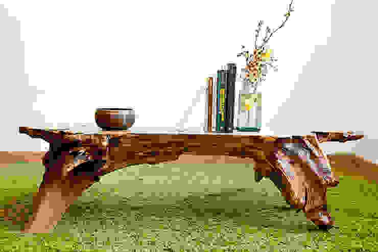 Mesa en madera a partir de una raíz de castaño de Héctor Nevado Rústico