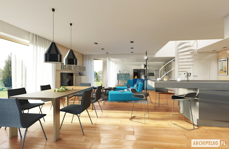 Dining room by Pracownia Projektowa ARCHIPELAG,