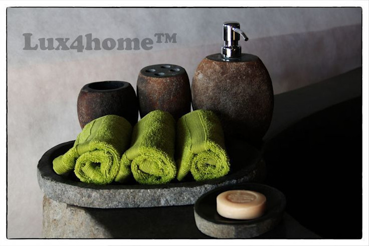 River Stone Soap Trays Manufacturer - (container for soap, soap dish, tray towel, cup) homify BathroomTextiles & accessories
