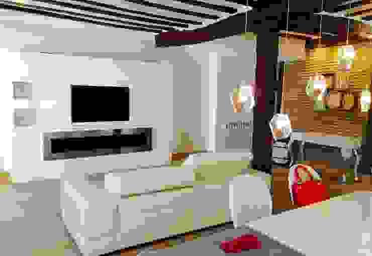 Decoración de interiores con chimenea de bioetanol XXL by Shioconcept Salones de estilo minimalista de Shio Concept Minimalista