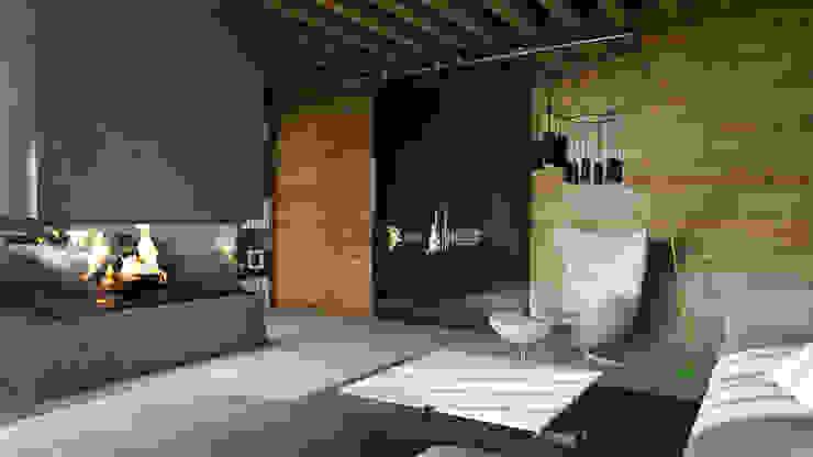 Concrete, wood and fire Гостиная в стиле лофт от Elena Arsentyeva Лофт