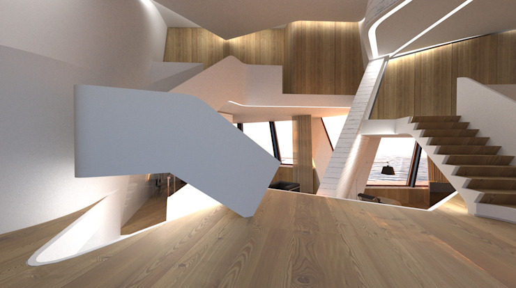 Expression of Sustenance: Corredores e halls de entrada  por Office of Feeling Architecture, Lda,Moderno