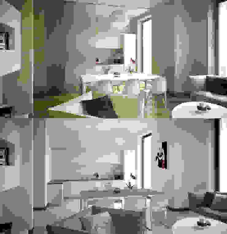 wood vs. stone Salas de estar modernas por AK srl Moderno
