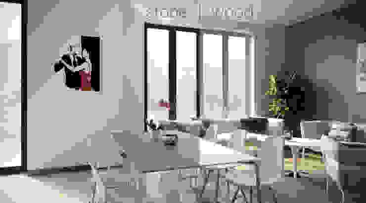 stone vs. wood Salas de estar modernas por AK srl Moderno