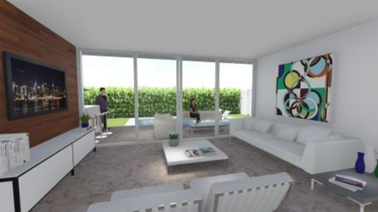 Residência V|T Salas de estar modernas por Coutinho+Vilela Moderno Granito