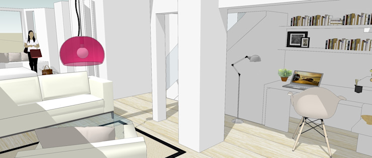 3d sketch view of desk and stairs Gullaksen Architects