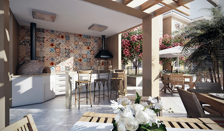 Patios by Lodo Barana Arquitetura e Interiores, Modern