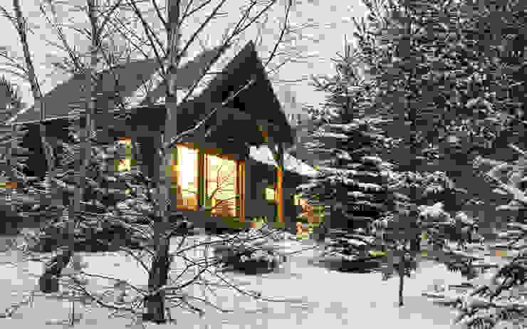 Widok z zachodu, elewacja południowo-zachodnia: styl , w kategorii Domy zaprojektowany przez Magdalena Zawada,Skandynawski