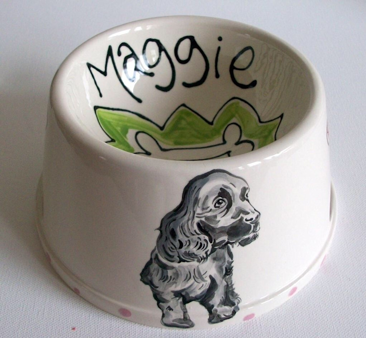 Personalised Spaniel Bowl with dog portrait homify KitchenCutlery, crockery & glassware