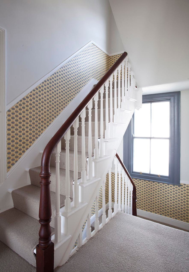 Coastal Townhouse Jude Burrows Interior Design Corridor, hallway & stairs Stairs