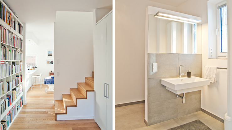 Modern Corridor, Hallway and Staircase by w+p architekten Modern