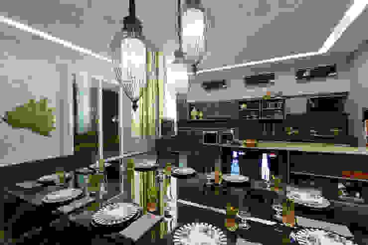 Churrasqueira suspensa integrada no espaço Salas de jantar modernas por RABAIOLI I FREITAS Moderno