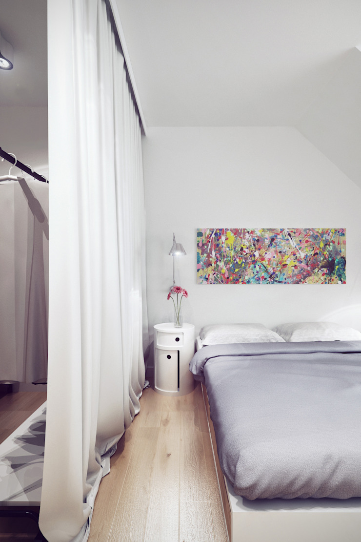 Mieszkanie w centrum Wrocławia Skandynawska sypialnia od COOLDESIGN Skandynawski