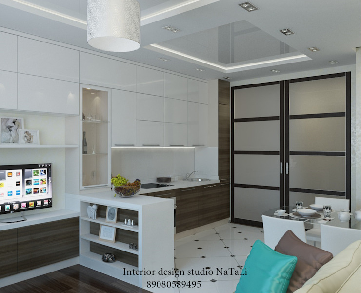 Дизайн квартиры в современном стиле Гостиная в стиле модерн от Студия дизайна Натали Модерн