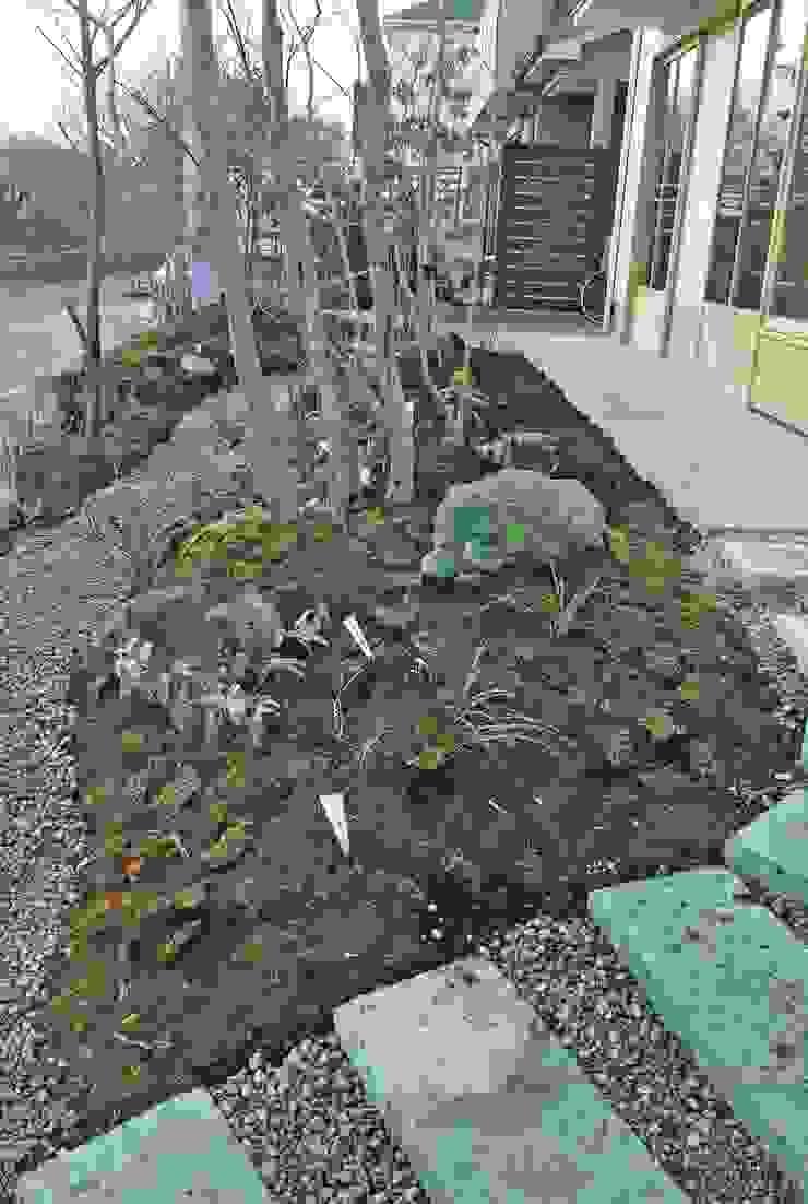 大谷石のアプローチ モダンな庭 の 野草の庭・茶庭づくり 風(ふわり) モダン