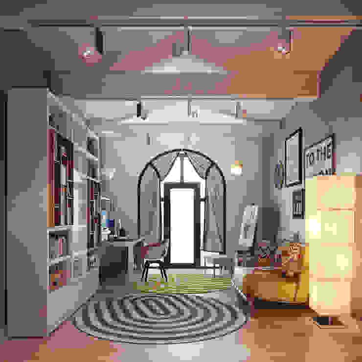 Домашний кабинет в мансардном этаже Рабочий кабинет в стиле минимализм от Sweet Home Design Минимализм