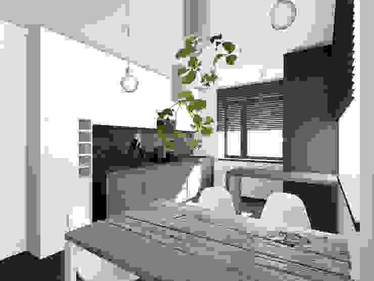 Projekt wnętrza części domu 200 m2 pod Bochnią Industrialna kuchnia od Lidia Sarad Industrialny
