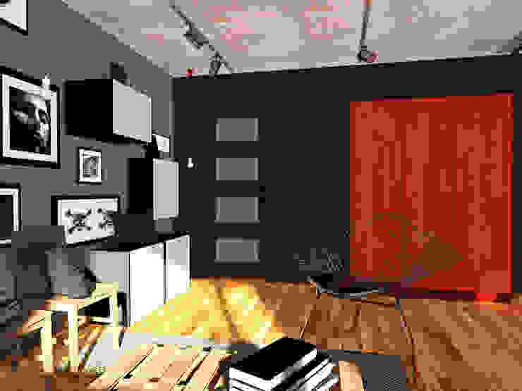 Projekt wnętrza części domu 200 m2 pod Bochnią Industrialne domowe biuro i gabinet od Lidia Sarad Industrialny